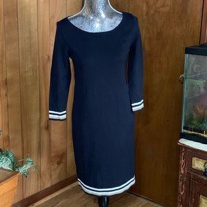 Ann Taylor classic navy blue sweater dress.